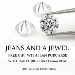 JEANS AND A JEWEL 1 CARAT SAPPHIRE FREE GIFT